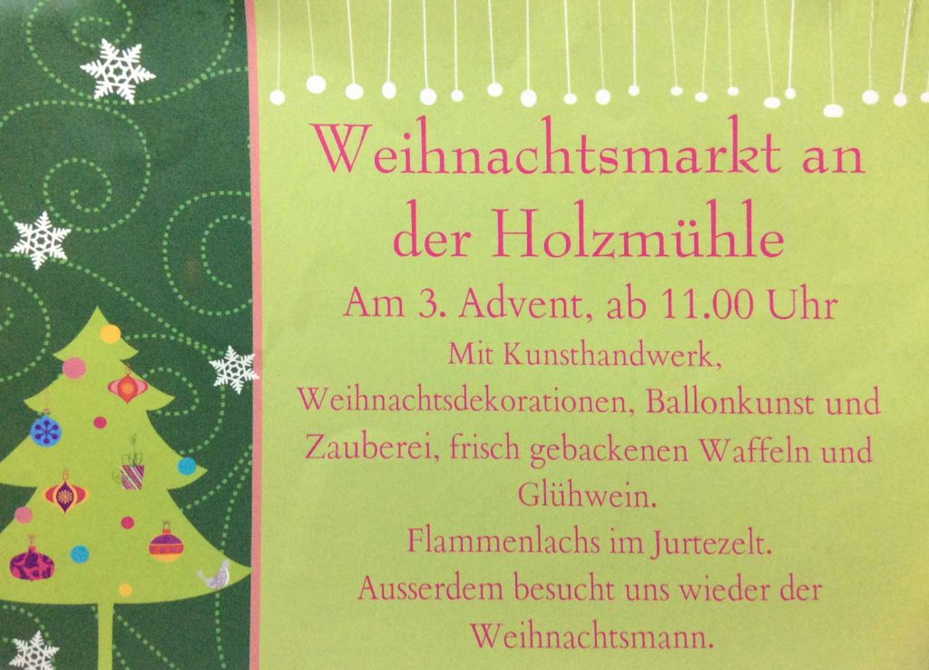 Weihnachtsmarkt an der Holzmühle - Flyer
