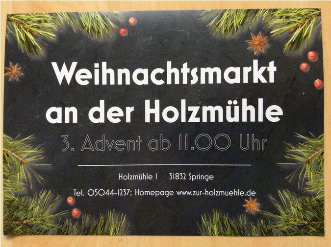 Flyer vom Weihnachtsmarkt an der Holzmühle am 3. Advent ab 11:00 Uhr, Holzmühle 1, Springe-Eldagsen